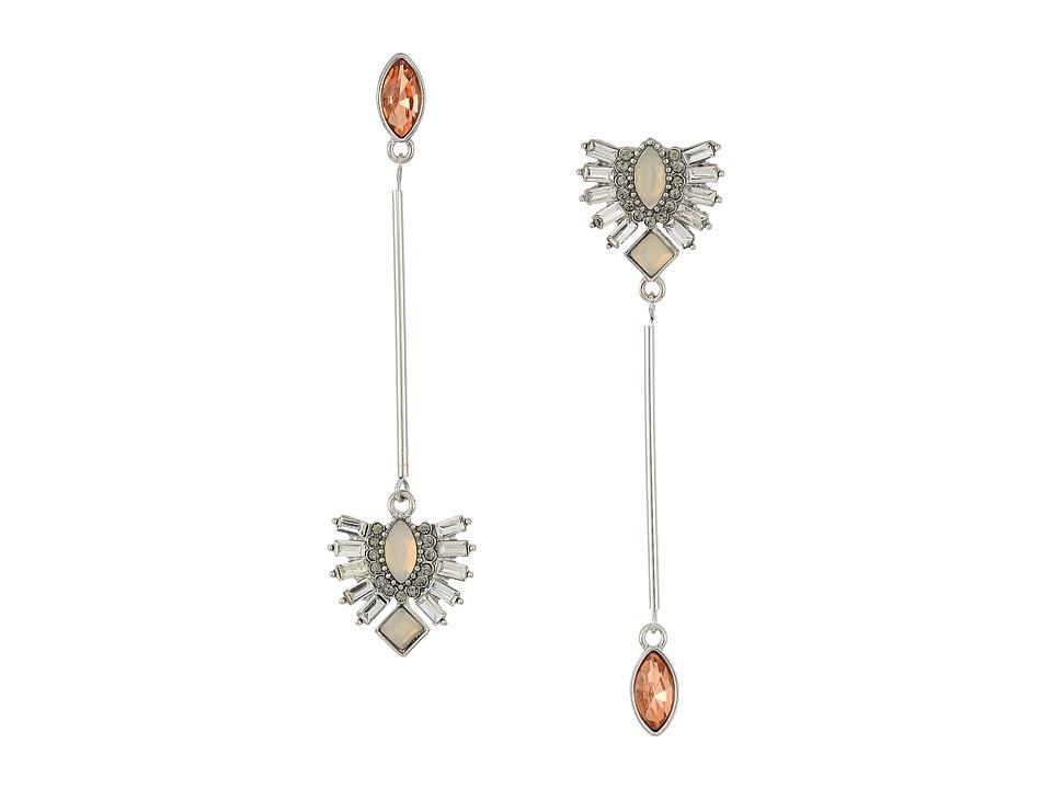 GUESS - Asymmetrical Linear Drop Earrings (Silver/Blush Opal/Black Diamond) Earring