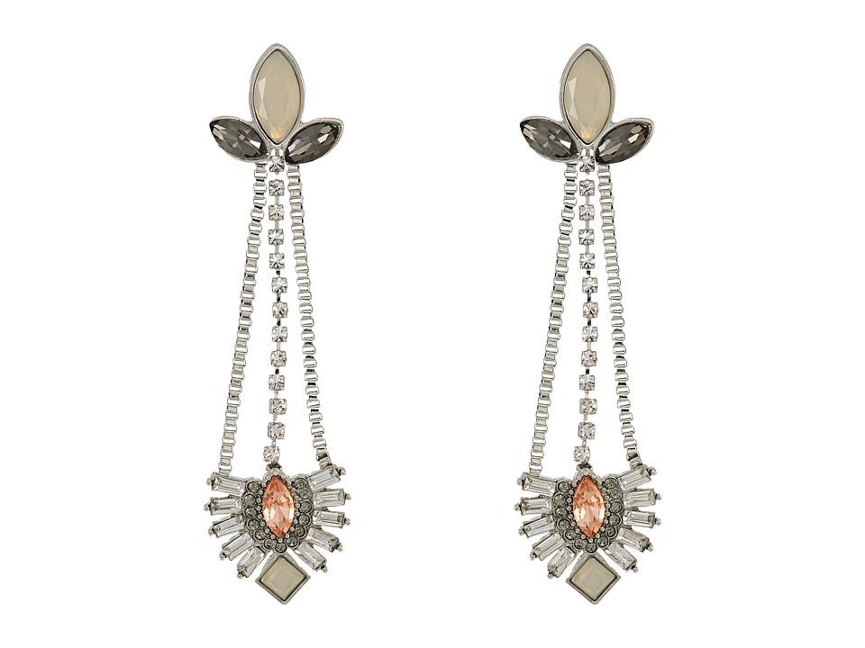GUESS - Stone Linear Earrings (Silver/Peach/Crystal/Black Diamond) Earring