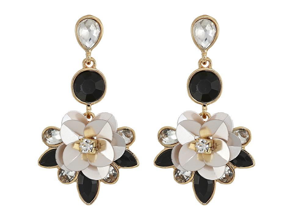 GUESS - Flower Drop Earrings (Gold/Champagne/Crystal/Jet) Earring