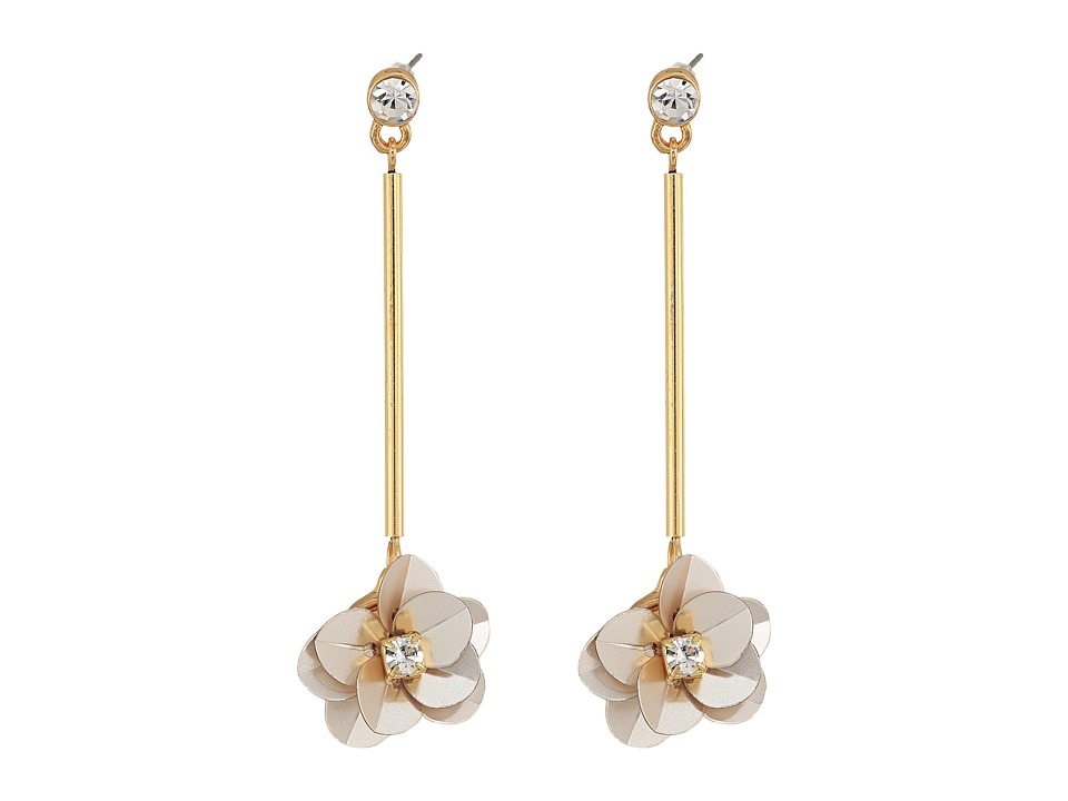 GUESS - Flower on Stick Linear Earrings (Gold/Champagne/Crystal) Earring