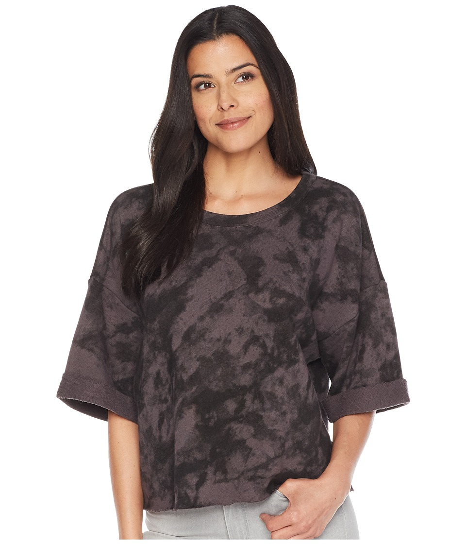Splendid Cropped Short Sleeve Sweatshirt (Black) Women