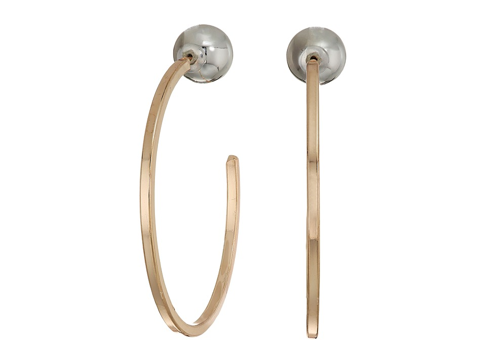 GUESS - Hoop Earrings with Ball Front (Rose Gold) Earring