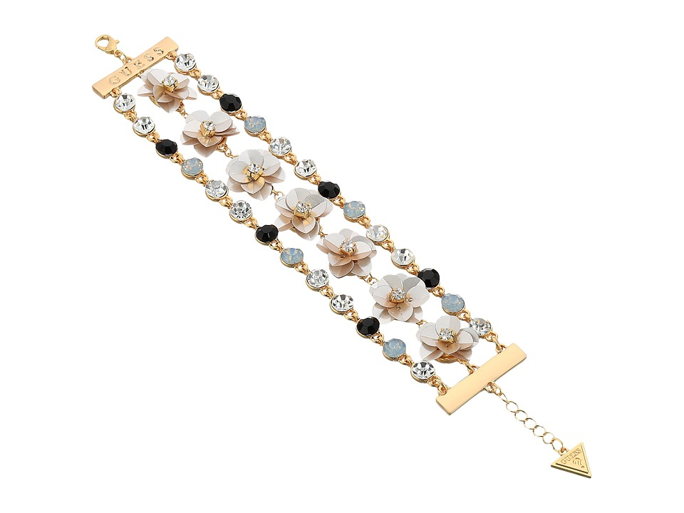 GUESS - Floral Motif Line Bracelet (Gold/Crystal/Jet/Ivory) Bracelet