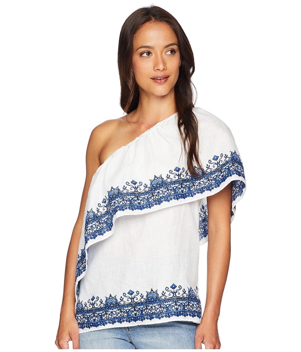 LAUREN Ralph Lauren - One Shoulder Linen Top (White Multi) Womens Blouse