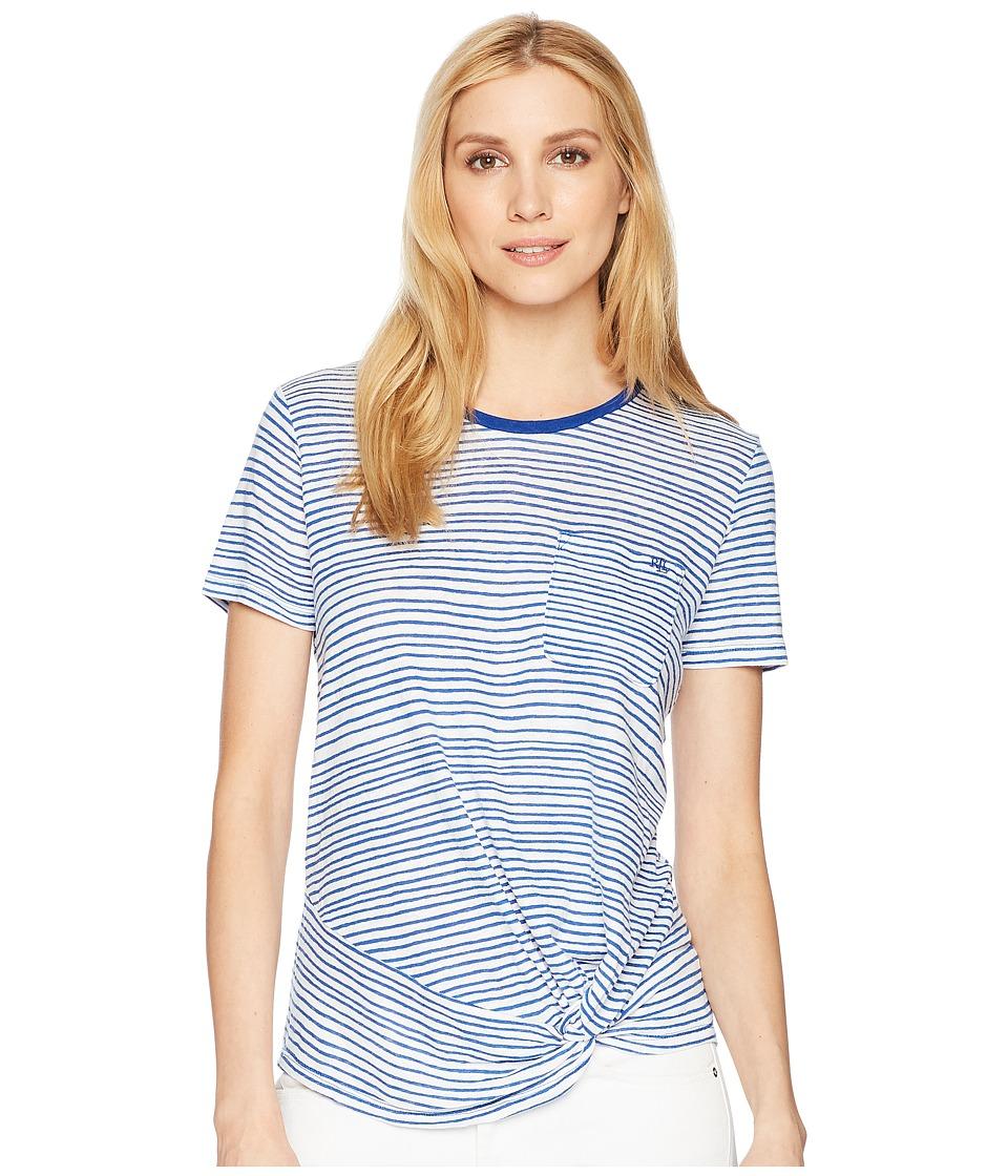 LAUREN Ralph Lauren - Twist Front Linen Blend T-Shirt (Soft White/Mosaic Blue) Womens T Shirt