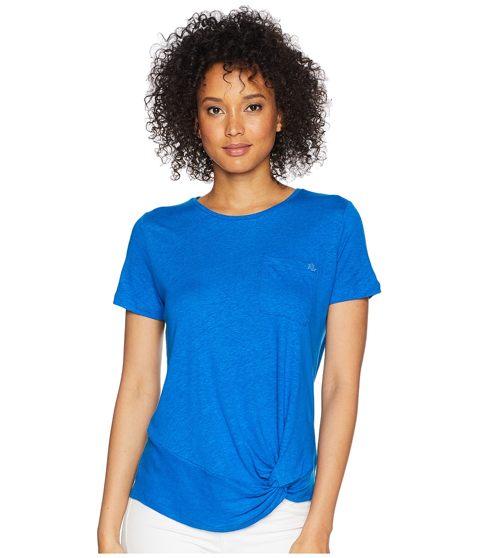 LAUREN Ralph Lauren - Twisted Pocket T-Shirt (Vivid Cyan) Womens T Shirt
