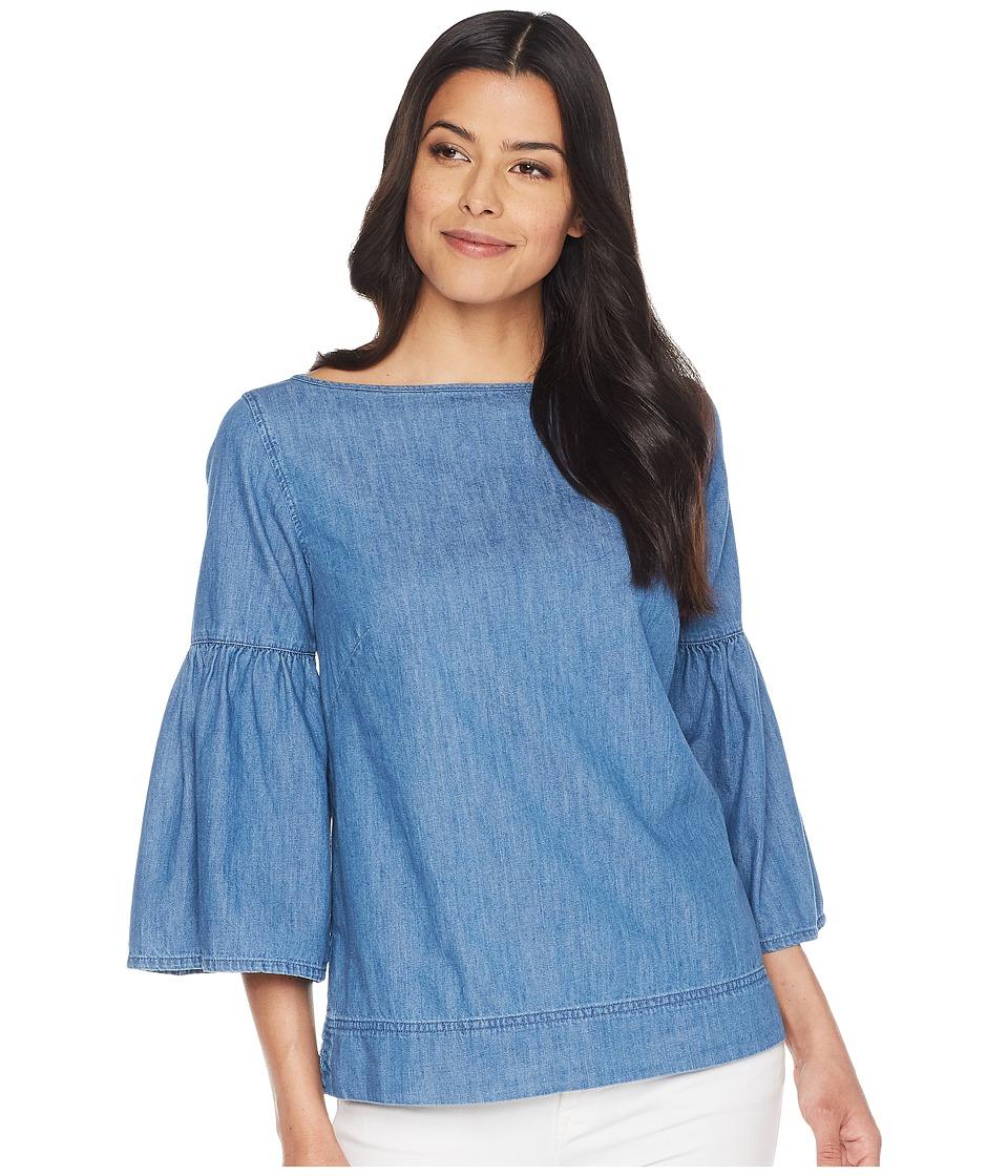 LAUREN Ralph Lauren - Denim Bell Sleeve Top (Odyssey Blue Wash) Womens Blouse