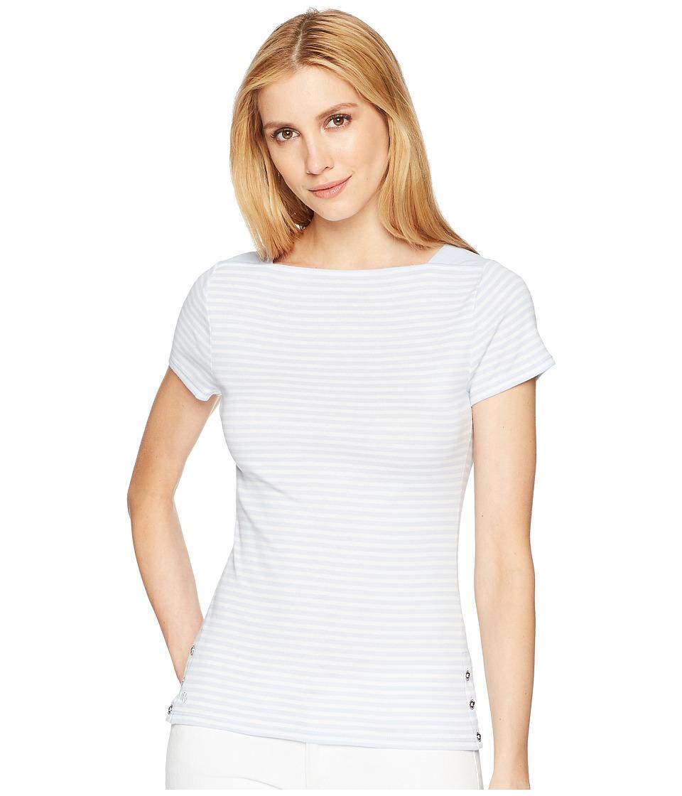 LAUREN Ralph Lauren - Rib Knit Short Sleeve Top (Whisper Blue/Soft White) Womens Short Sleeve Knit