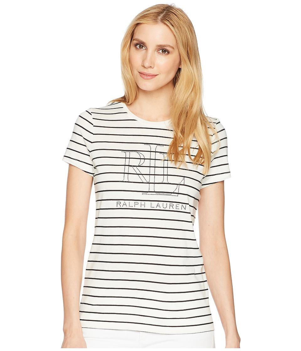 LAUREN Ralph Lauren - Studded LRL T-Shirt (Mascarpone Cream/Polo Black) Womens T Shirt