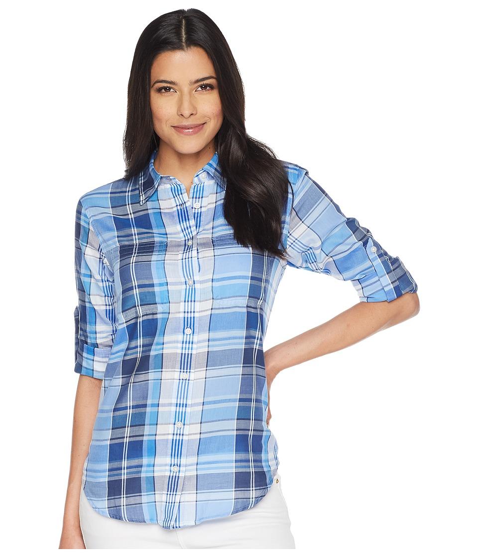 LAUREN Ralph Lauren - Plaid Cotton Twill Shirt (Blue Multi) Womens Clothing