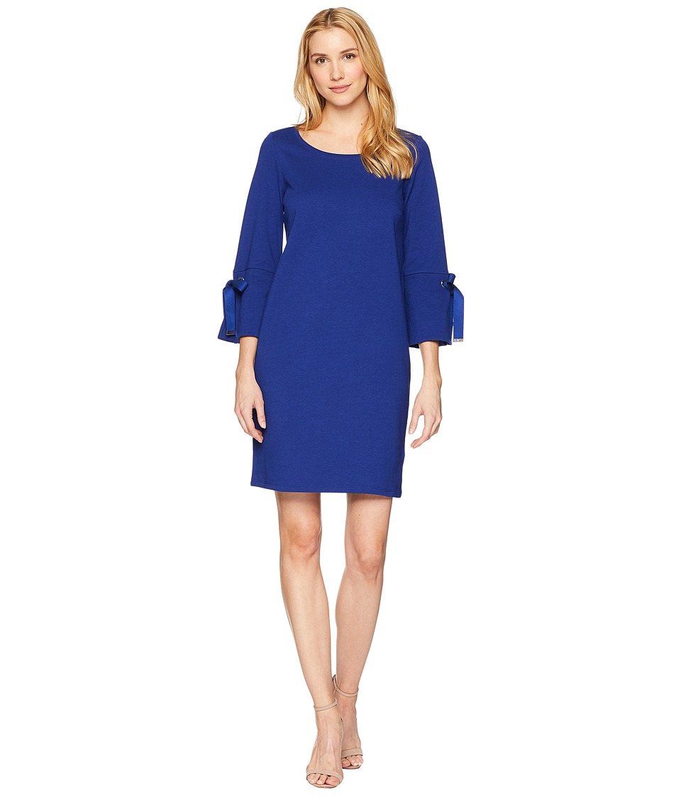 LAUREN Ralph Lauren - Lace-Up Sleeve Cotton Dress (True Sapphire) Womens Dress