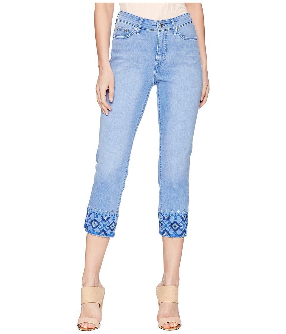 LAUREN Ralph Lauren - Embroidered Straight Crop Jeans (Indigo Mosaic Wash) Womens Jeans