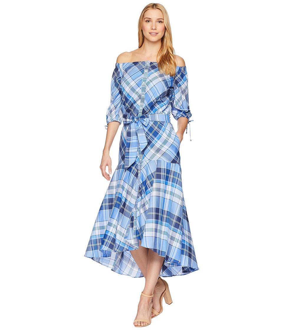 LAUREN Ralph Lauren - Plaid Off the Shoulder Dress (Blue Multi) Womens Dress