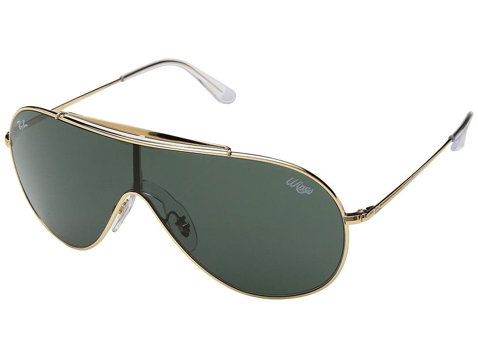 Ray-Ban Wings 0RB3597 33mm (Gold/Dark Green) Fashion Sunglasses