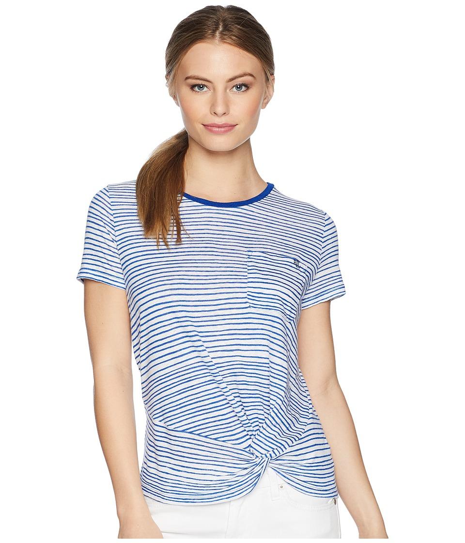 LAUREN Ralph Lauren - Petite Twist-Front T-Shirt (Soft White/Mosaic Blue) Womens Clothing