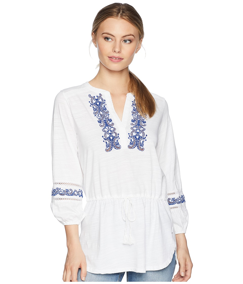 LAUREN Ralph Lauren - Petite Embroidered Cotton Top (Soft White) Womens Clothing
