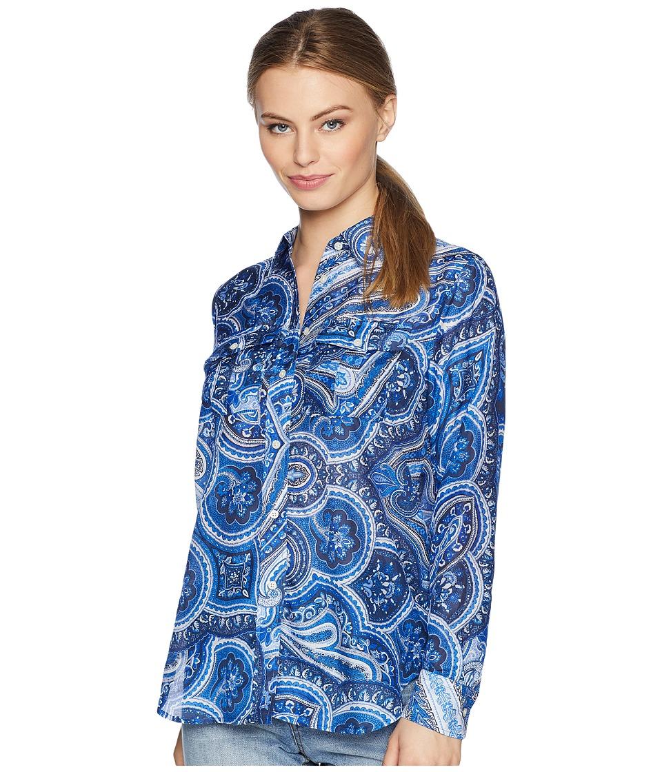 LAUREN Ralph Lauren - Petite Paisley Silk-Blend Shirt (Blue Multi) Womens Clothing