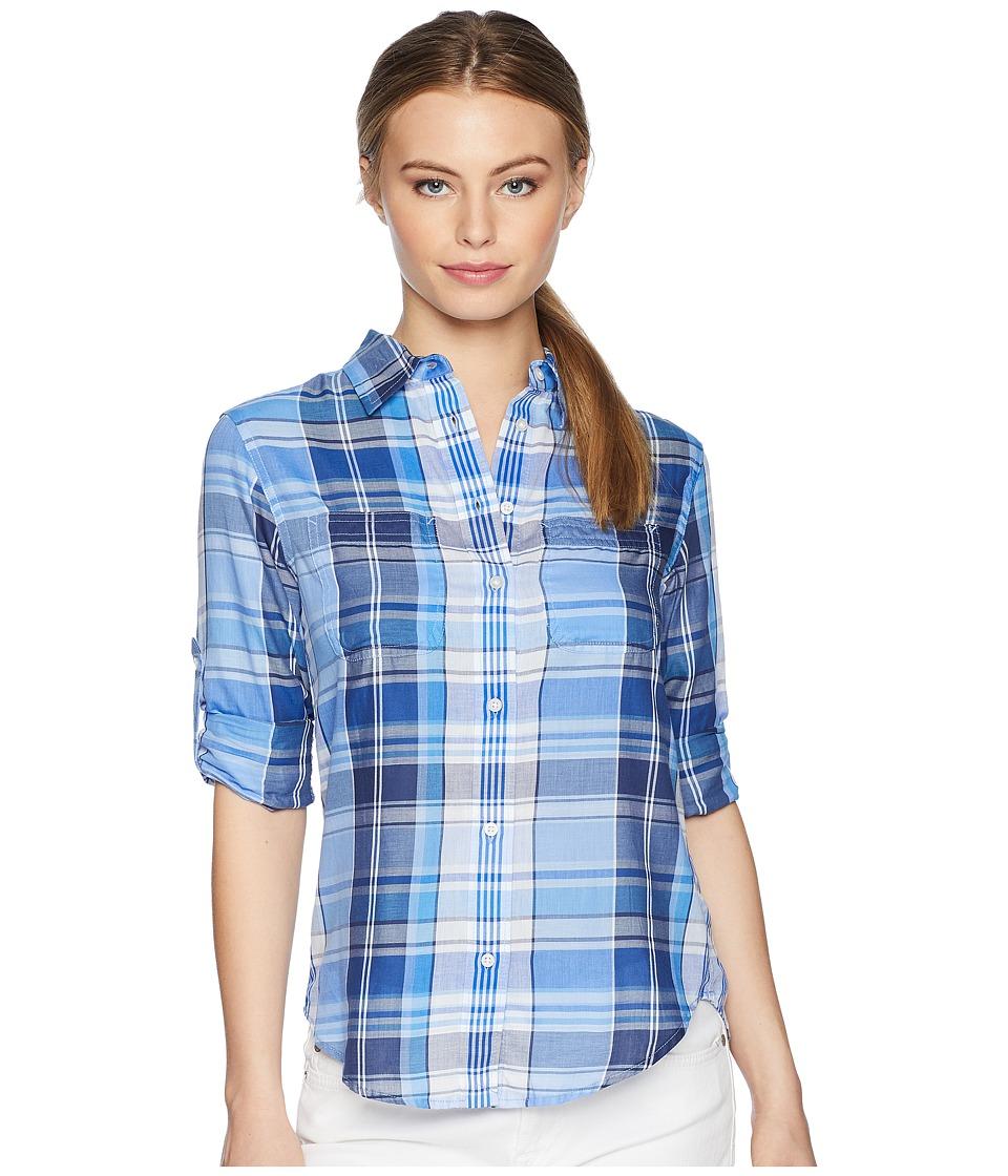 LAUREN Ralph Lauren - Petite Plaid Cotton Twill Shirt (Blue Multi) Womens Clothing