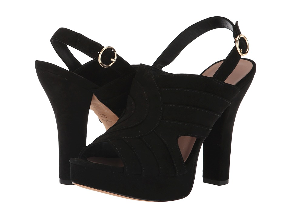 Diane von Furstenberg Tabby (Black Kid Suede) Women's Shoes