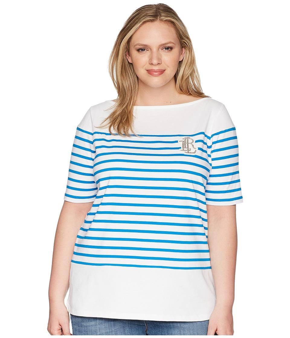LAUREN Ralph Lauren - Plus Size LRL Striped Cotton T-Shirt (Soft White/Vivid Cyan) Womens Clothing