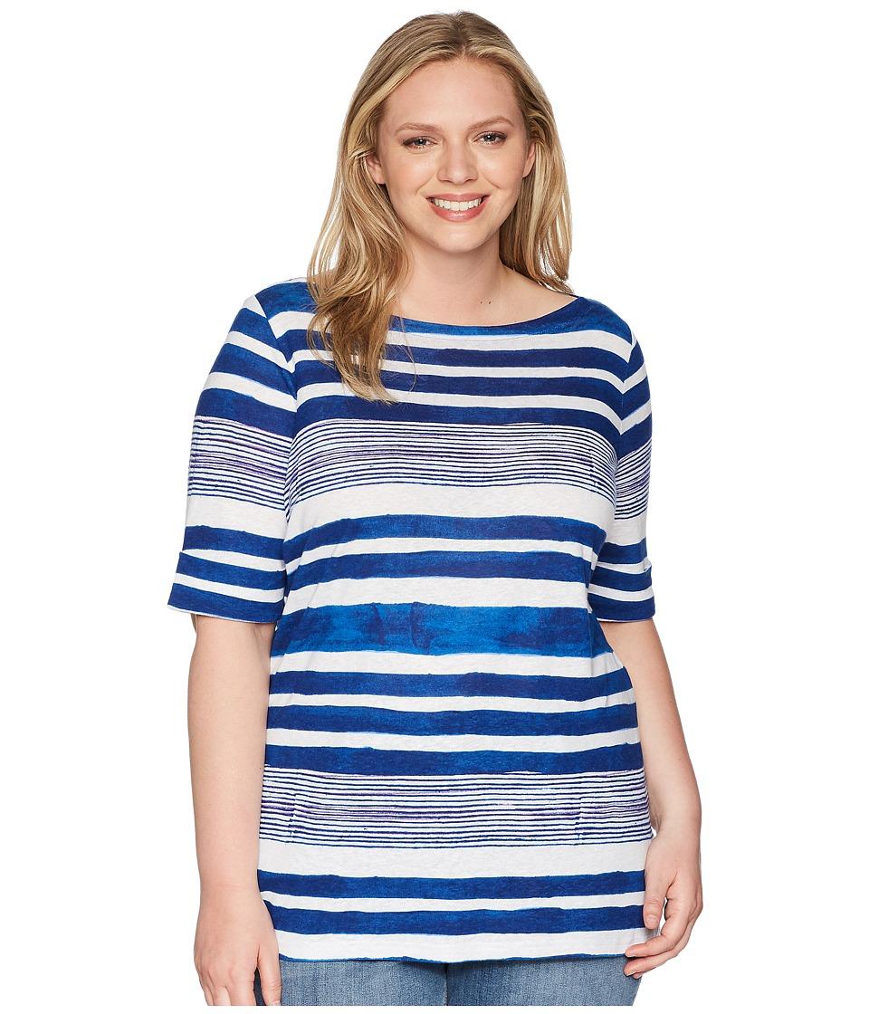 LAUREN Ralph Lauren - Plus Size Striped Boat Neck Top (Multi) Womens Clothing