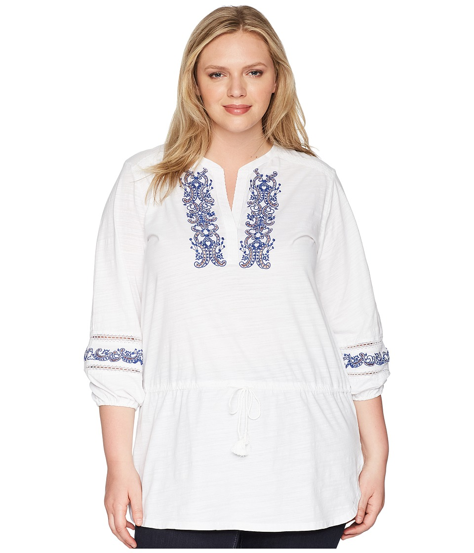 LAUREN Ralph Lauren - Plus Size Embroidered Cotton Top (Soft White) Womens Clothing