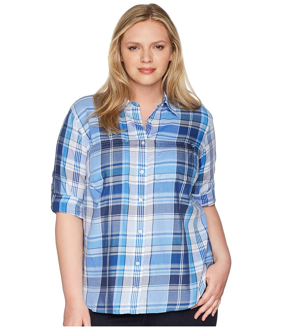 LAUREN Ralph Lauren - Plus Size Plaid Cotton Twill Shirt (Blue Multi) Womens Clothing