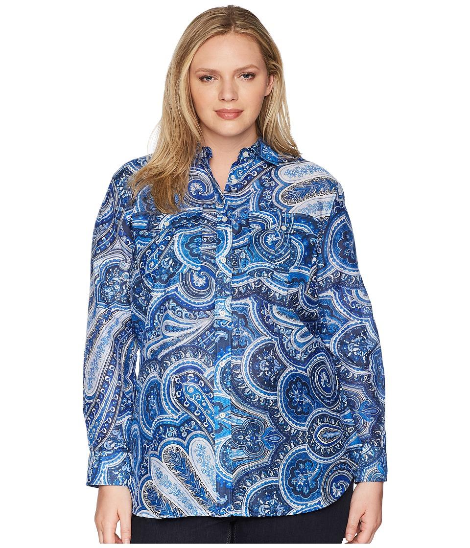 LAUREN Ralph Lauren - Plus Size Paisley Silk-Blend Shirt (Blue Multi) Womens Clothing