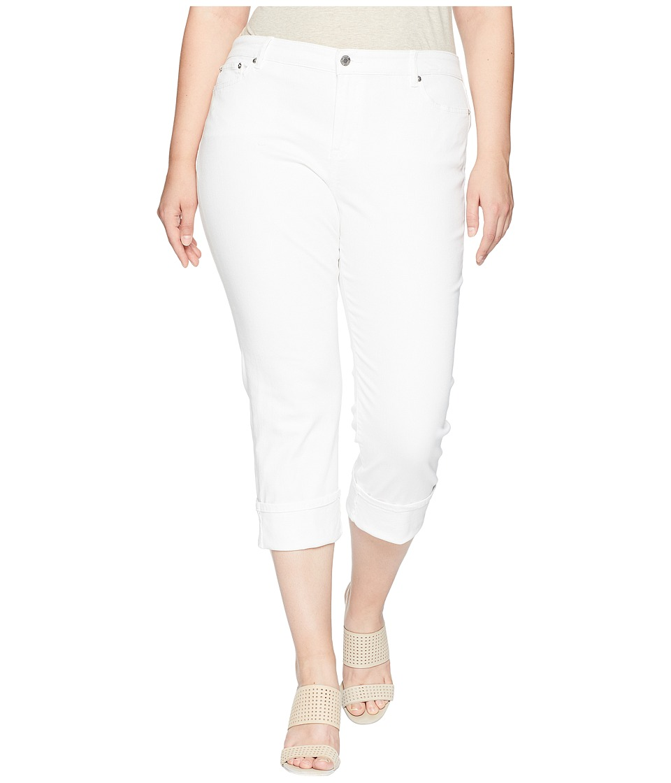 LAUREN Ralph Lauren - Plus Size Premier Straight Crop Jeans (Pure White Wash) Womens Jeans