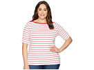 LAUREN Ralph Lauren LAUREN Ralph Lauren Plus Size Striped Cotton Elbow Sleeve Top