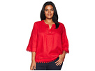 LAUREN Ralph Lauren Plus Size Lace-Trim Tissue Linen Top