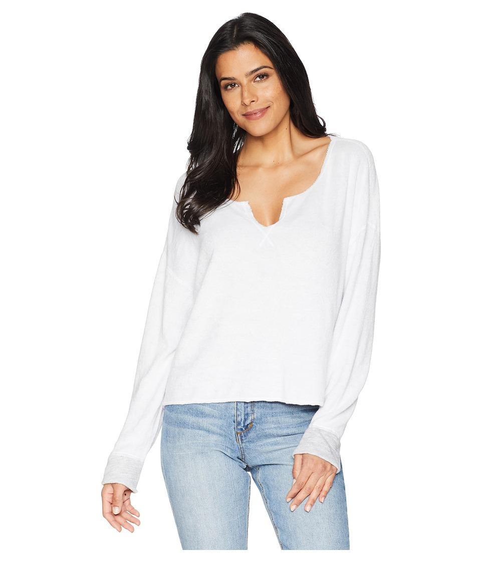 Three Dots Beach Terry Reversible Split-Neck Sweatshirt (White Granite) Women