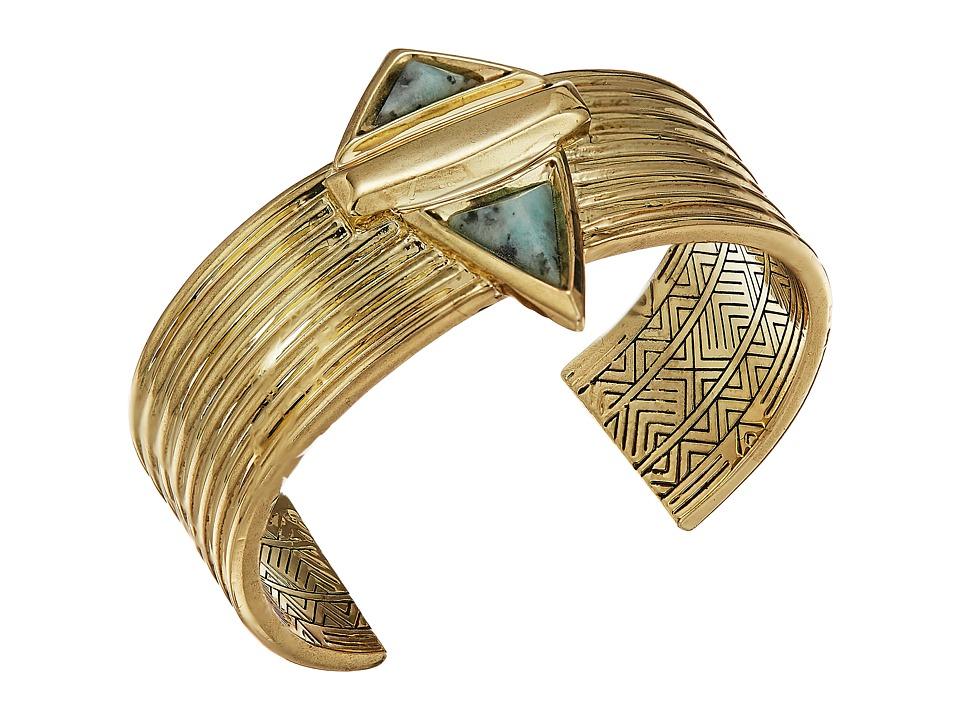 House of Harlow 1960 - Pyramid Stone Cuff Bracelet (Gold/Kiwi) Bracelet