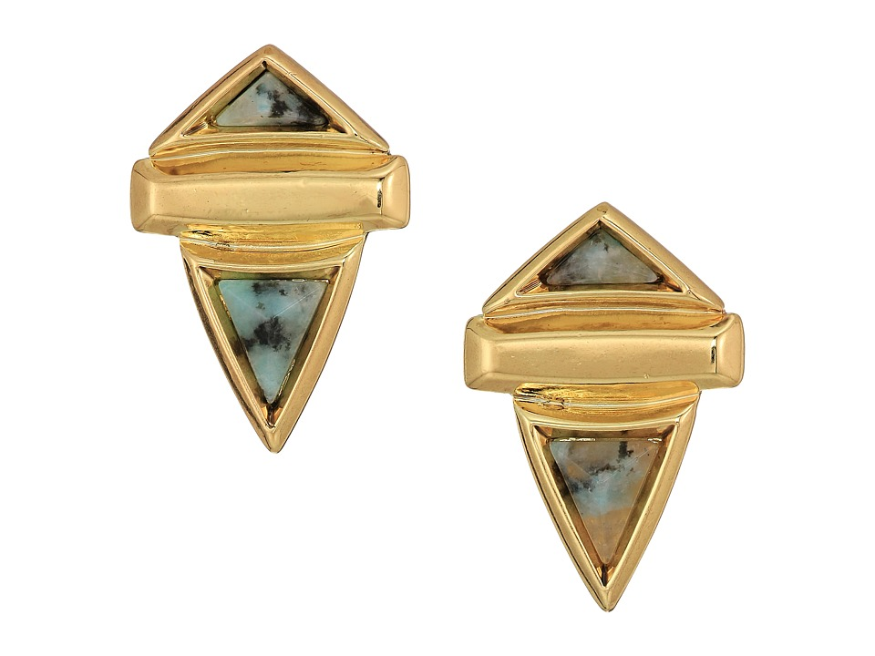 House of Harlow 1960 - Pyramid Stone Small Earrings (Gold/Kiwi) Earring