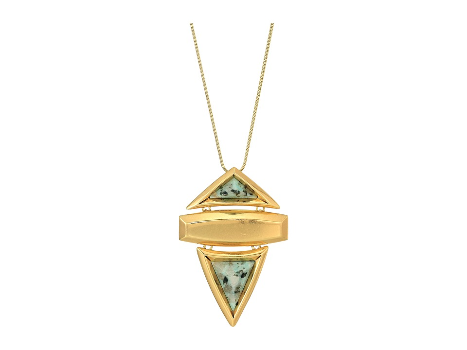 House of Harlow 1960 - Pyramid Stone Pendant Necklace (Gold/Kiwi) Necklace