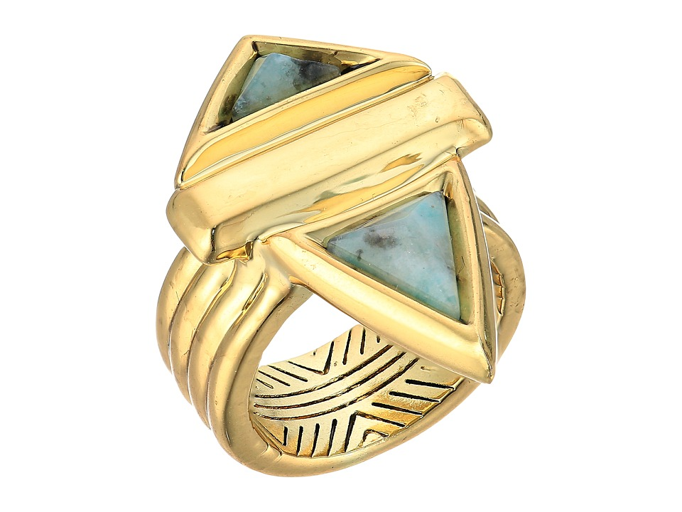 House of Harlow 1960 - Pyramid Stone Ring (Gold/Kiwi) Ring