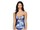 Lucky Brand Crushed Waves Keyhole Tankini Top