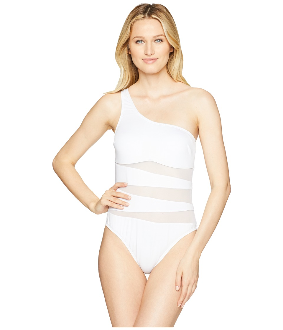 Kenneth Cole Sexy Solids One Shoulder Mio One-Piece Swimsuit (White) Women's Swimsuits One Piece