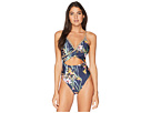 Trina Turk Fiji Floral Mix Over the Shoulder Maillot One-Piece Swimsuit