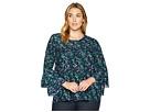 MICHAEL Michael Kors Plus Size Fleur Print Tier Sleeve Top