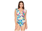 La Blanca Go with The Flo-Ral Adjustable Arm Coverage Over the Shoulder One-Piece Swimsuit