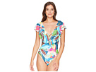 La Blanca Go with The Flo-Ral Ruffle Mio One-Piece Swimsuit