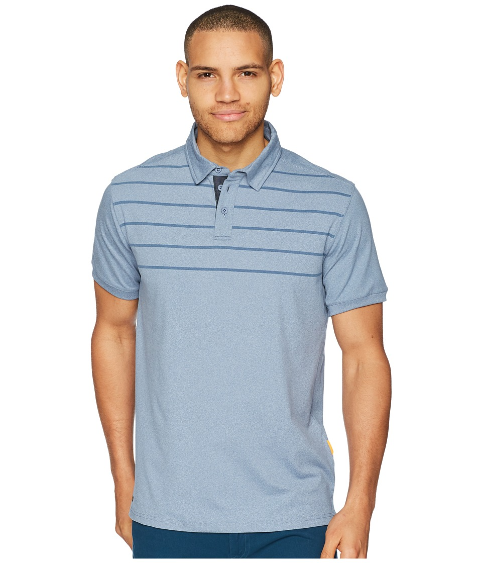 Quiksilver Waterman - Striped Reel BacklashTechnical Polo (Blue Shadow Heathered) Mens Clothing