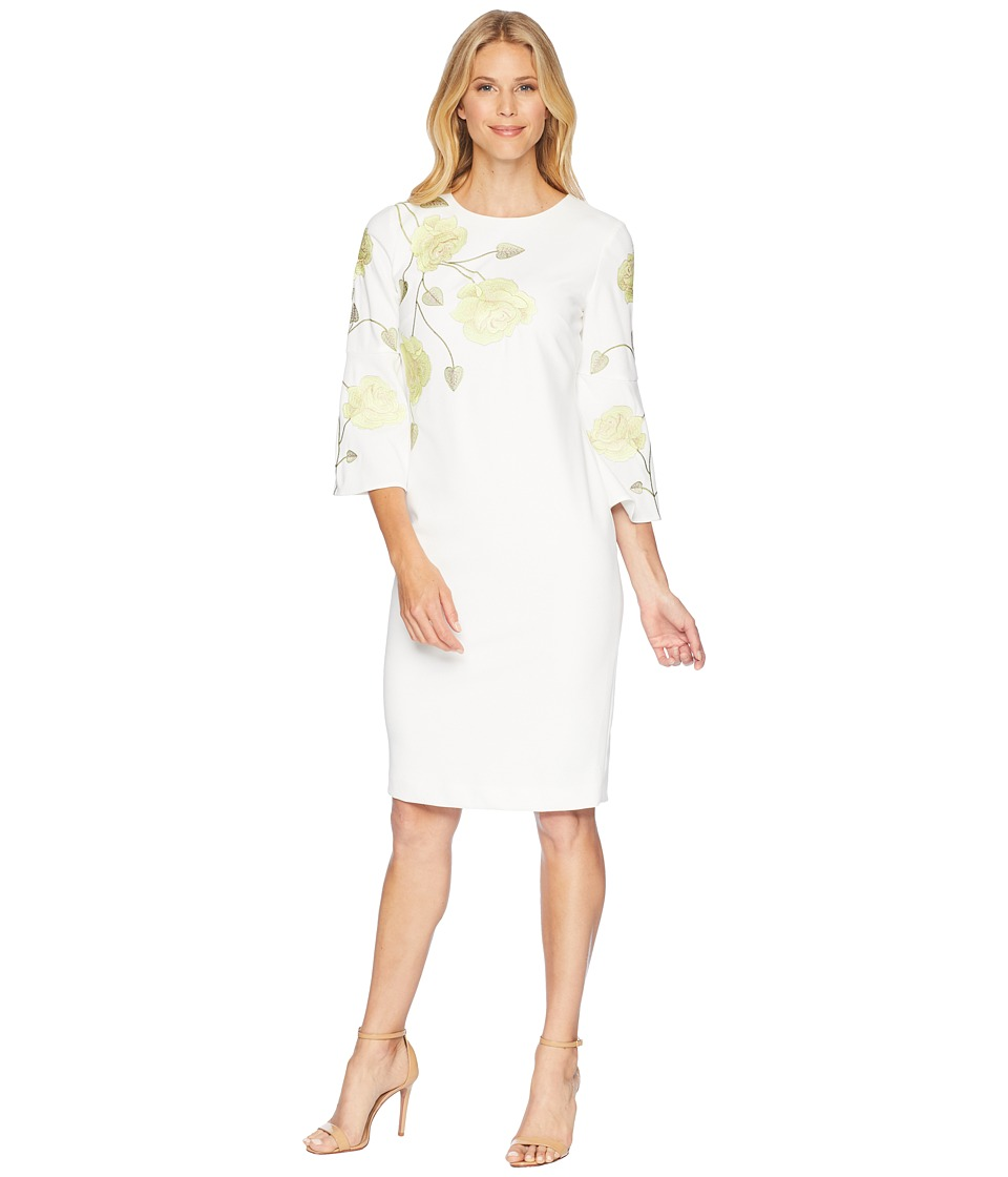 Tahari by ASL - Long Sleeve Floral Embroidered Crepe Shea...