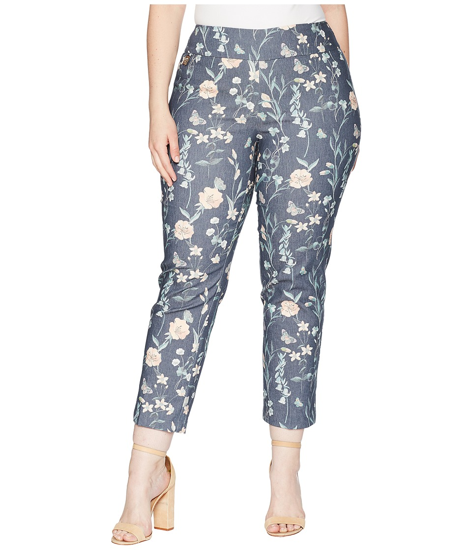 Lisette L Montreal - Plus Size Japanese Garden Ankle Pants Curvy Collection (Denim Blue) Womens Casual Pants