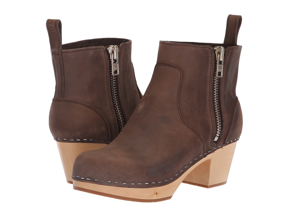 Swedish Hasbeens Zip It Emy (Chocolate Nubuck)