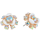 Betsey Johnson Rose Gold and White Flower Stud Earrings