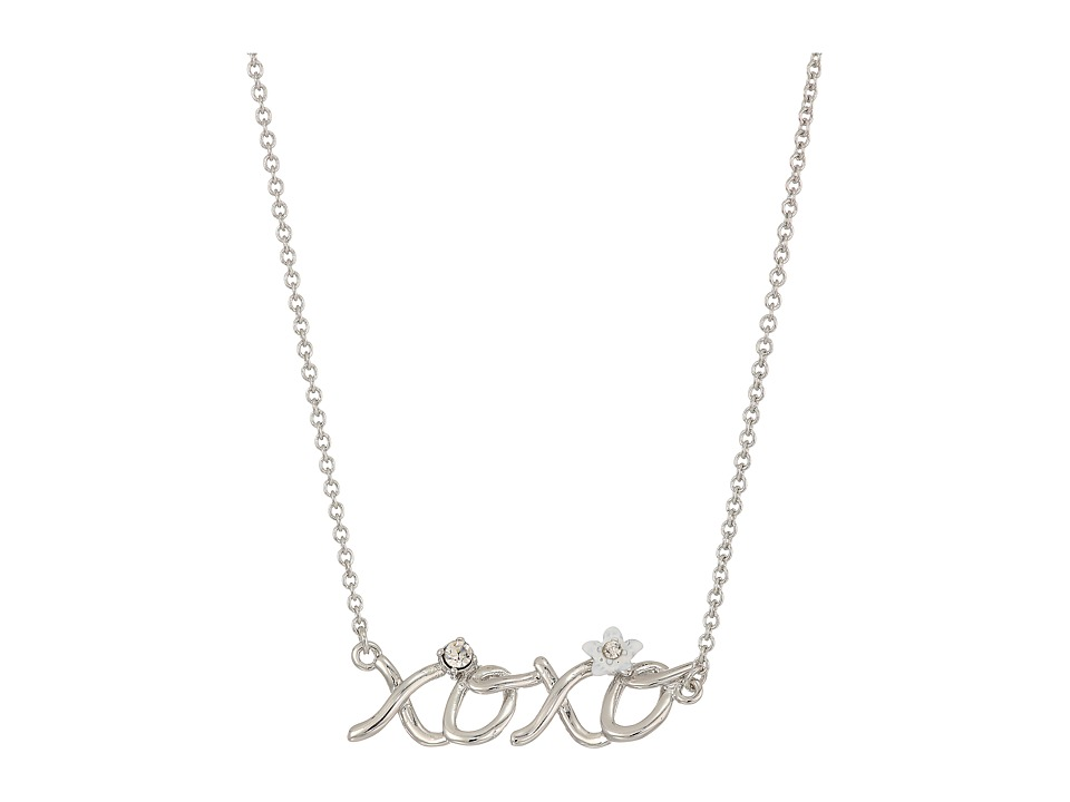 Betsey Johnson - Blue by Betsey Johnson Silver with Crystal and Flower Accented XOXO Necklace (Crystal) Necklace