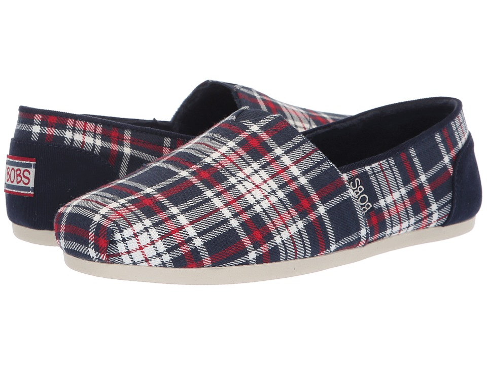 BOBS from SKECHERS Bobs Plush - Plaid Dash (Navy/Red) Slip-On Shoes