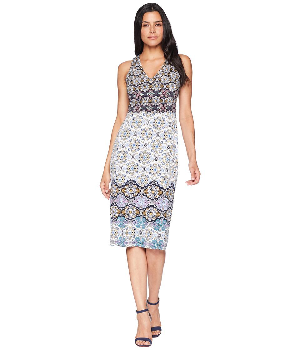 Maggy London - Tile Stripe Jersey Sheath (Soft White Gold) Womens Dress